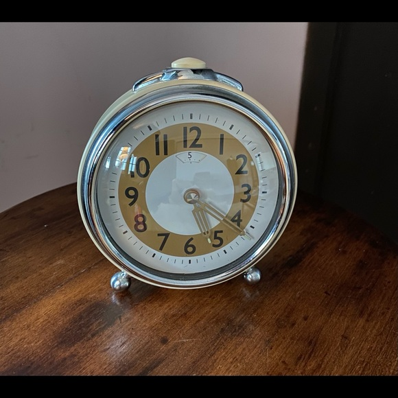 Pottery Barn retro cream and chrome alarm clock